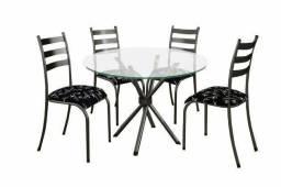 Mesa De 4 Cadeiras De Vidro Nova