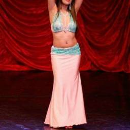 Figurino de Dança do Ventre rosa e azul (P)