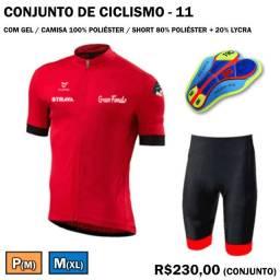 Camisa + Bretelle de Ciclismo Strava Vermelho