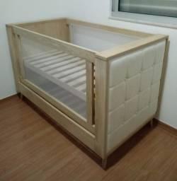 Berço Ideahome de tela e madeira com colchão e pilow