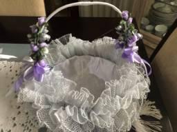 Kit cestas decoradas e porta aliança
