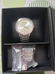 Relógio lince prata feminino