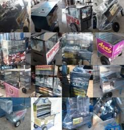 Carrinhos de lanches inox direto da distribuidora em até 10 x sem juros no cartão