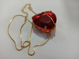 Corrente feminina dourada + pingente de coração