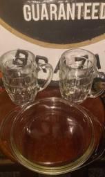 Jogo de canecas chopp+ copos cristais+ petisqueira portuguesa! NOVOS