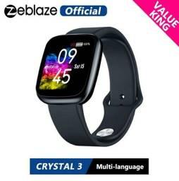 Relógio smart zeblaze crystal 3 bluetooth touch aceito cartão 12x envio imediato