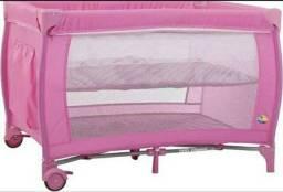Berço portátil cercadinho rosa + colchão ortobom