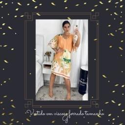 Vestido em viscose estampado laranja - G