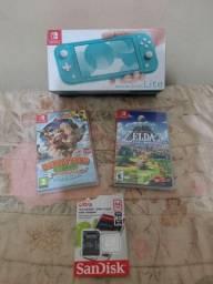 Nintendo Switch Lite Completo na caixa com 3 jogos Originais + cartão 64gb + case e capa