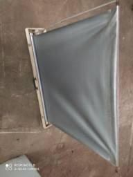 Tela de projetor de slide portátil<br>Vintage raro estojo de madeira<br>