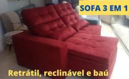 Sofá retratil, reclinável e baú sofá 3 em 1 direto da fábrica em macaé