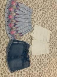 Kit de 2 short saia e e shorts branco por 60,00. Tamanho 10 anos. Em ótimo estado
