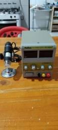 Fonte de bancada e microscópio usb