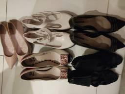 Kit 5 sapatos diversos 38/39 - R$ 229,00