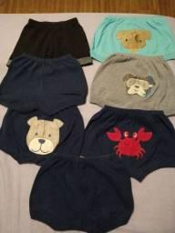 7 shorts bebê 6 a 9 meses por 15,00