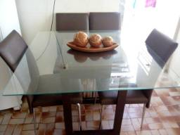 Mesa 4 cadeiras com tampo de vidro