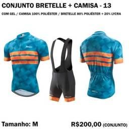 Conjunto Bretelle + Camisa de Ciclista 100% Poliéster