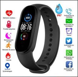 Relógio Pulseira Inteligente M5 (Preto- Azul- Salmão- Vermelho)