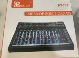 Mesa De Som Bluetooth Usb Mixer Mp3 Digital 7 Canais Le-709