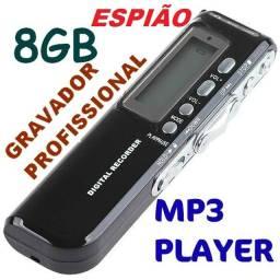 Gravador De Voz 8gb Profissional+mp3. Alta Qualidade Áudio