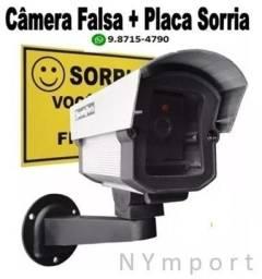 Câmera Falsa Não Filma Fica Com Led Aceso Security Parts Bivolt + Placa Sorria