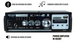 Amplificador Receiver bluetooth FM/ USB/ MP3