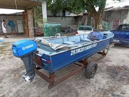 Barco Lancha de Alumínio + motor Yamaha 15hp