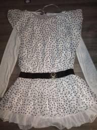 Vestido branco de bolinha novo!