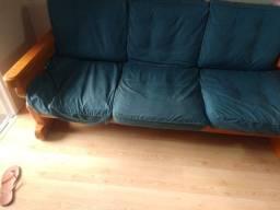 Conjunto sofá madeira maciça
