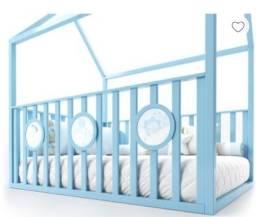 Cama Casinha Montessoriana Padrão Casal Com Grade Azul