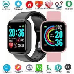 Smartwatch y68 - Preto, Branco e Rosa