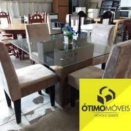 Mesa de vidro com 4 cadeiras almofadadas para sala de jantar, mostruário por apenas 999,99