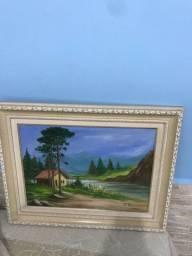 Quadro pintado à mão usado medindo 59x47