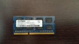 Memória RAM notebook 4GB PC3-10600S-9-10-f2 DDR3 1333MHz Elpida