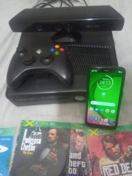 Xbox 360 c/ Kinect +14 jogos / Cel moto G7 play