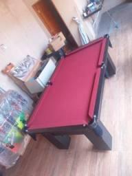 Mesa de Bilhar Charme Preta Tx Tecido Vermelho Modelo POL5462