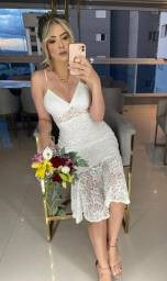 vestido midi casamento civil branco novo de alca