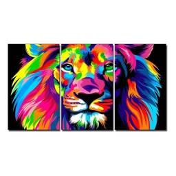 Título do anúncio: Kit quadros decorativos Mdf 3 partes Leão placa decorativa Sala Quarto