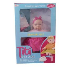Boneca Titi Faz Xixi C Fraldinha +acessorio Educativa Menina