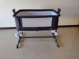 Berço Portátil Infantil Bambino - Cinza,de acoplar na cama, desmontável