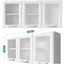 Armário Aéreo c/Vidro Cozinhas Itatiaia Premium - 3 Portas - IPV3-120 - Branco