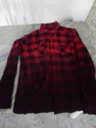 Casaco vermelho original 100% algodão - xadrez vermelho