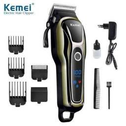 Máquina de cortar cabelo kemei super turbo sem fio