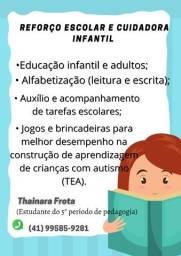 Reforço escolar e cuidadora infantil