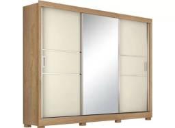 Guarda roupas casal 3 portas com espelho