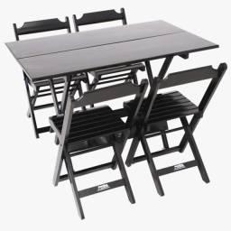 Jogo de Mesa 1,20 x 70 c/4 cadeiras de madeira