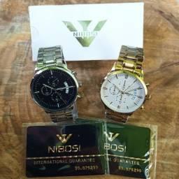 Relógio Masculino Nibosi aço inoxidável a prova dágua movimento Quartz