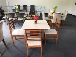 Mesa de Jantar Cristina 4 Cadeiras Beatriz medida do tampo 90X90