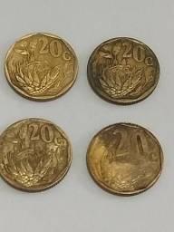 4 moedas de 20 cents áfrica do sul déc 90