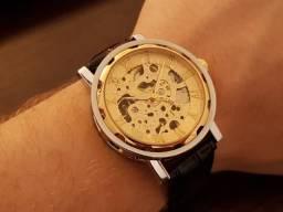 Relógio Aço/Ouro Skeleton Mecânico Couro 40mm Novo 12x